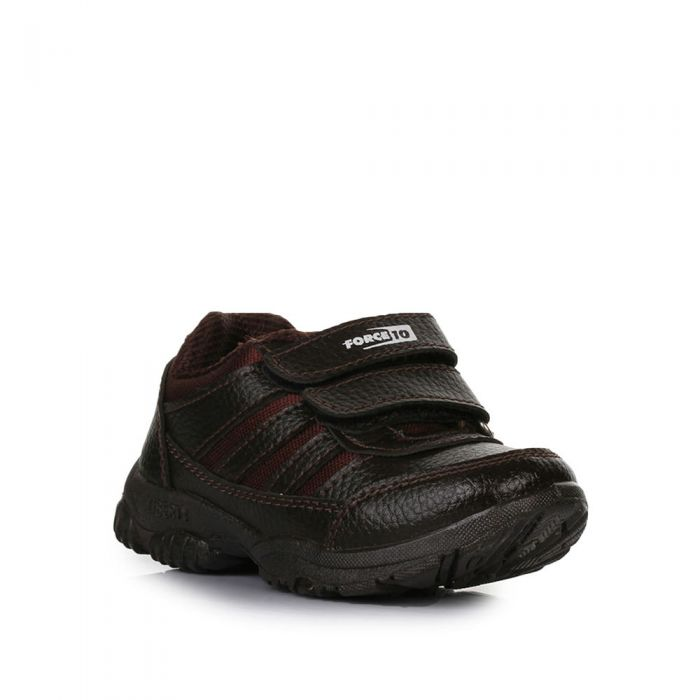 Liberty ( Force10 ) Brown Velcro School shoes for boys
